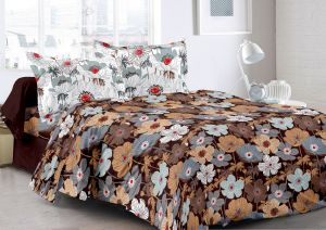 Welhouse Brown & Floral Design Skin Friendly Double Bedsheet With 2 Contrast Pillow Cover-best Tc-175