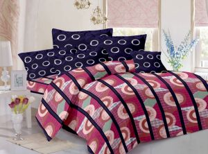 Welhouse Cotton Stripes Pink Double Bedsheet With 2 Contrast Pillow Covers(tc-129)