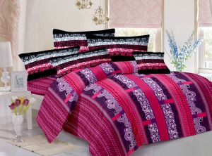 Welhouse Cotton Traditional Brown Double Bedsheet With 2 Pillow Covers(tc-129)