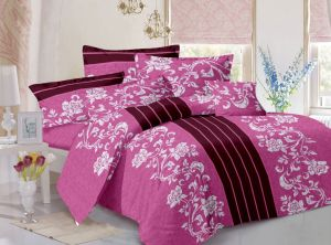 Welhouse Cotton Floral Pink Double Bedsheet With 2 Contrast Pillow Covers(tc-129)