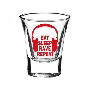 10 AM Eat Sleep Rave Repeat Shot Glass ( Sgesrb4 )(set Of 2)