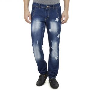 Savon Mens Slim Fit Blue Distressed Denim Jeans For Men With Elegant Star Shapes (product Code - Sh507109-02)