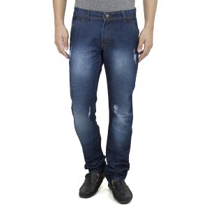 Savon Mens Slim Fit Blue Distressed Denim Jeans For Men With Elegant Embroidery (product Code - Sh507111a-01)