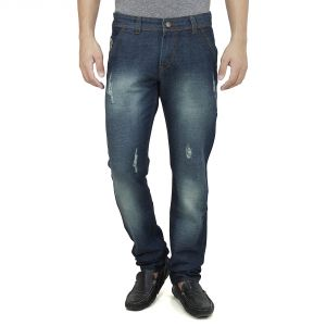 Savon Mens Slim Fit Blue Distressed Denim Jeans For Men With Elegant Embroidery (product Code - Sh507111a-02)