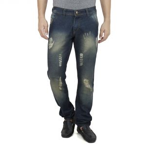 Savon Mens Slim Fit Blue Distressed Denim Jeans For Men With Elegant Embroidery (product Code - Sh507111b-02)