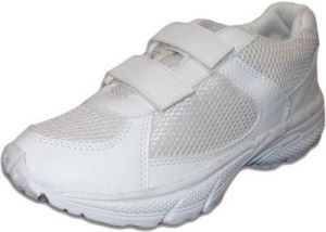 School Shoes - Port White Strips Mesh School Shoes For Kids-whitestrp