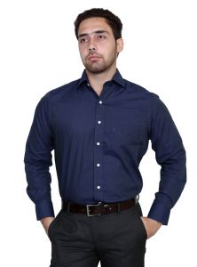 Solemio,Port Formal Shirts (Men's) - IQ Pure Cotton Blue Shirt for men inqcop_3