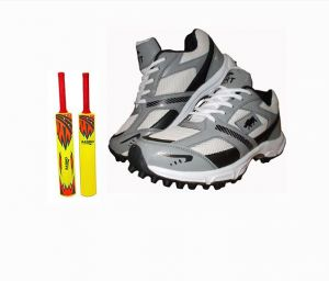 Port Player White Black Cricket Sports Shoes Combo (babro Plastic Kids Bat)