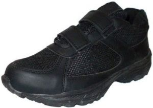 Port Black Mesh School Shoes Childrens-stripschol_1