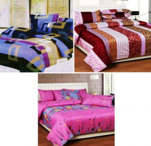 Double Bed Sheets - Sai Arpan's Set of 3 Double Bed Sheet Combo