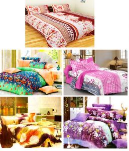 Double Bed Sheets - Sai Arpan's Set of 5 Premium Bed Sheets Combo-6