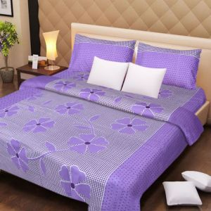 Handloomdaddy Cotton Design Double Bedsheet With 2 Pillow Covers - Purple Patch