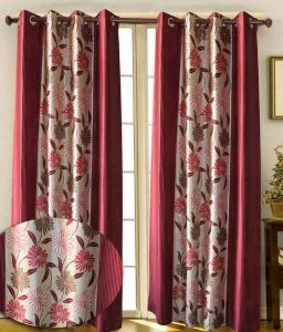 Curtains - Sai Arpan Flower Print Maroon Window Curtain