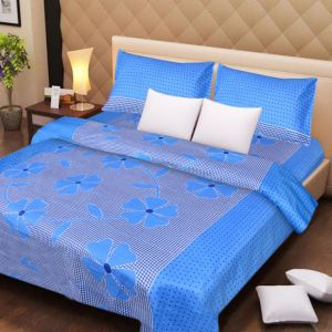 Handloomdaddy Cotton Designer Double Bedsheet With 2 Pillow Covers - Blue Patch