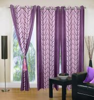 Set Of 3 Sai Arpan Premium Eyelet Purple Polyester Door Curtain