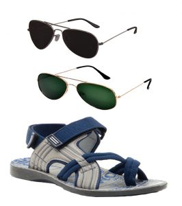 Floaters (Men's) - Combo Of Provogue And Fastfox Stylish & Attractive Blue And Grey Floater Sandals And Two Aviators