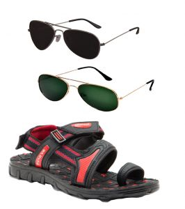 Floaters (Men's) - Combo Of Provogue And Fastfox Stylish & Attractive Red And Black Floater Sandals And Two Aviators