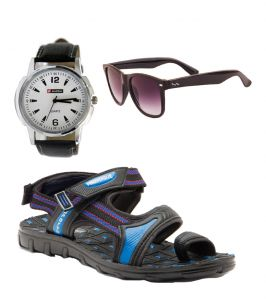 Floaters (Men's) - Provogue Stylish & Attractive Blue And Black Floater Sandals With Black Wayfarer And Lotto Watch