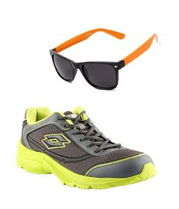 Lotto Sport Shoes (Men's) - Lotto Runing  Grey And Green Sport Shoes With Lotto Orange Wayfarer
