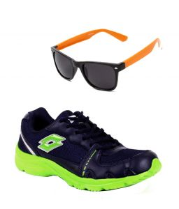 Lotto Sport Shoes (Men's) - Lotto Runing Navy Blue And Green Sport Shoes With Lotto Orange Wayfarer