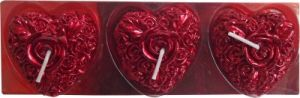 Zarsa Heart Shape Candle(maroon, Pack Of 3)