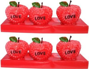 Zarsa Love Apple Candle(multicolor, Pack Of 6)