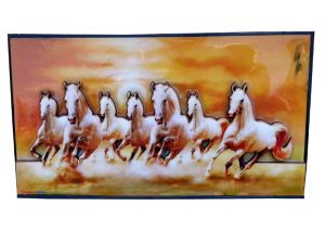 Jagdamba,Johnson & Johnson,Iam Magpie,Shree,Taparia,Productmine,Kaamastra Home Decor & Furnishing - Productmine Home Decor Running 7 Horses With Vastu Sunrise Wall Hangings 3d Frame Showpiece