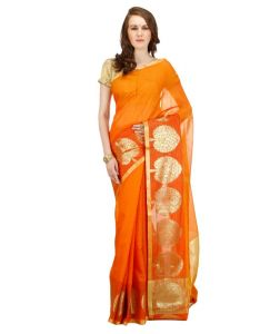Banarasi Silk Works Party Wear Designer Orange Colour Saree For Women