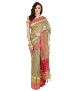 Banarasi Silk Works Party Wear Designer Beige Colour Saree For Women