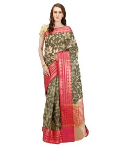Banarasi Silk Works Party Wear Designer Grey With Rani Colour Saree For Women