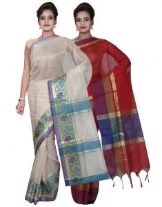 Banarasi Silk Works Party Wear Designer Red & Cream Colour Cotton Combo Saree For Women