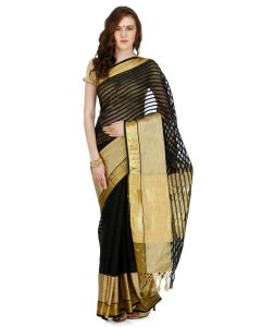 Banarasi Silk Works Party Wear Designer Black Colour Saree For Women