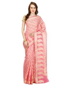 Banarasi Silk Works Party Wear Designer Pink Colour Saree For Women