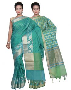 Cotton Sarees - Banarasi Silk Works Party Wear Designer Green & Green Colour Cotton Combo Saree For Women'S(BSW34_36)