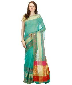 Banarasi Sarees - Banarasi Silk Works Party Wear Designer Saffire Colour Saree For Women's BSW1052