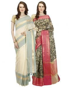 Banarasi Silk Works Party Wear Designer Multi Colour Combo Saree For Women