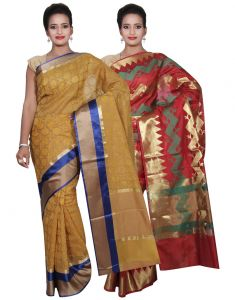 Banarasi Silk Works Party Wear Designer Red & Yellow Colour Cotton Combo Saree For Women