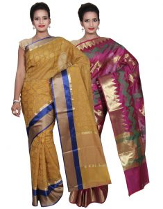 Banarasi Silk Works Party Wear Designer Purple & Yellow Colour Cotton Combo Saree For Women