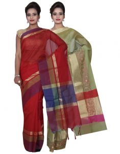 Banarasi Silk Works Party Wear Designer Green & Red Colour Cotton Combo Saree For Women