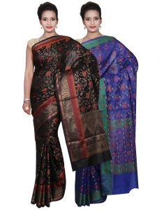 Cotton Sarees - Banarasi Silk Works Party Wear Designer Blue & Black Colour Cotton Combo Saree For Women'S(BSW39_40)