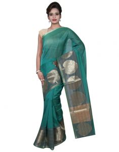 Banarasi Silk Works Party Wear Designer Green Colour Cotton Saree For Women