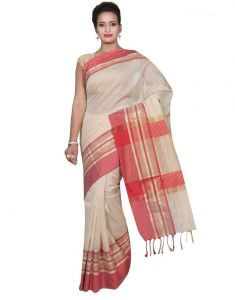 Banarasi Silk Works Party Wear Designer Cream Colour Cotton Saree For Women