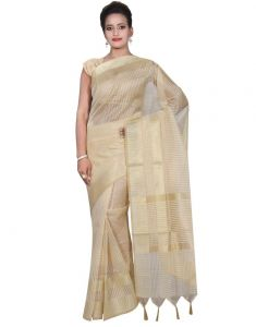Banarasi Silk Works Party Wear Designer Cream Colour Super Net Cotton Saree For Women
