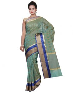 Banarasi Silk Works Party Wear Designer Green Colour Super Net Saree For Women