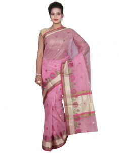 Banarasi Silk Works Party Wear Designer Pink Colour Super Net Saree For Women