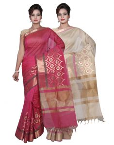 Banarasi Silk Works Party Wear Designer Beige & Pink Colour Cotton Combo Saree For Women