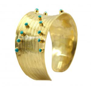 Riyo A Turquoise 18kt Gold Plated Lightweight Bangle Width 1.25inches (product Code - Gpbmul -52012)