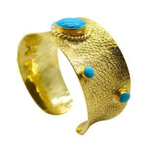 Riyo A Turquoise 18kt Gold Plated Marbled Bangle Width 1.25inches (product Code - Gpbmul -52015)