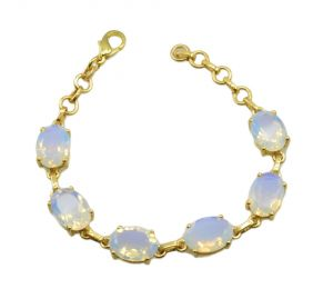 Riyo White Fire Opal Cz 18kt Gold Plated Slip On Bracelet Width 7.5inches Gpbrafocz-98001)