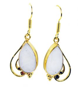 Riyo White Agate Gold Plated Fashion Dangle Earrings L 1.5in Gpeage-0003)